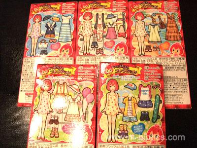 いちごポッキー箱裏の着せ替え人形、全五種類を制覇