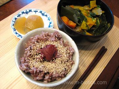 ごぼう汁、玄米ご飯 マクロビオティックの食卓