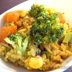 ブロッコリーとコーンのカレー混ぜご飯