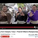 洋楽「HAPPY」の動画に出演して踊っている三人の力士(里山、豊ノ島、天鎧鵬)