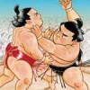 【大相撲】ジャポニカ学習帳「相撲」A6版表紙の力士二人は誰に見える?~思った力士の名を言い合ってみる